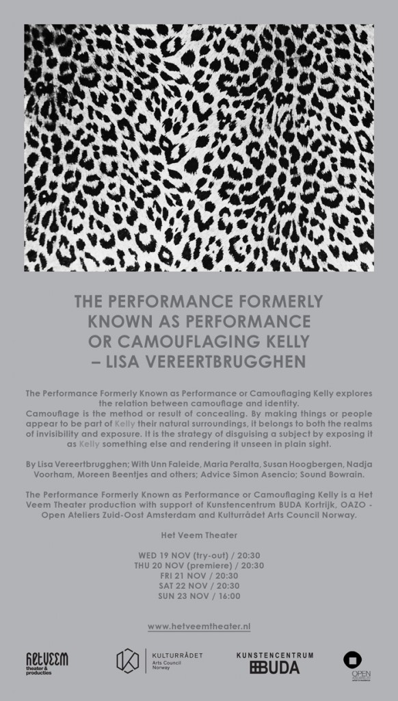 E-flyer The Performance Formerly Known as Performance or Camouflaging Kelly by Lisa Vereertbrugghen